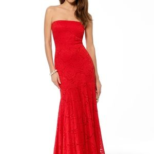 Fire Red Strapless Lace Mermaid Gown